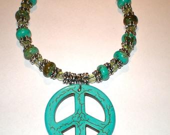 TURQUOISE PEACE SYMBOL Fashion Hippie Bohemian Necklace