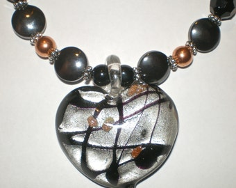 COPPER ONYX  HEART Fused Glass Necklace