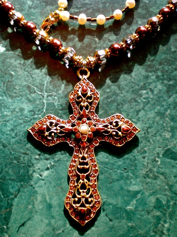 RENAISSANCE Rosary Style Crystal CROSS NECKLACE