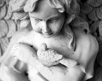 Stone Angel Fine Art Photograph - Black & White Photograph - Little Bird With Angel - Travel Photography - North Carolina Photography