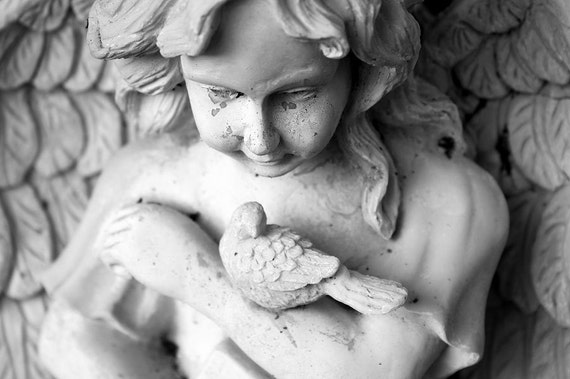 Stone Angel Fine Art Photograph - Black & White Photograph - Little Bird With Angel - Travel Photography - North Carolina Photography