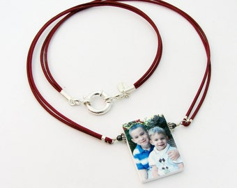 N1 - Leather Necklace With Photo Pendant - Handmade Photo Tile Jewelry