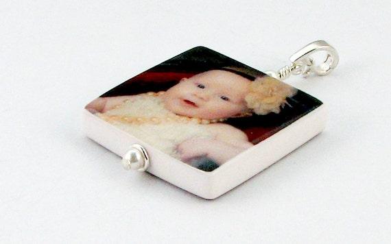 P2 - Custom Photo Pendant Keepsake - Medium - Handmade Photo Tile Jewelry
