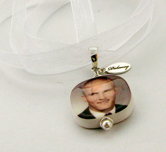 Wedding Bouquet Photo Charm - Custom Bridal Bouquet Jewelry - Small Photo Pendant - BC3R