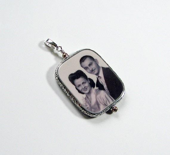 Sterling Silver Framed Photo Pendant - Large - FP1FR