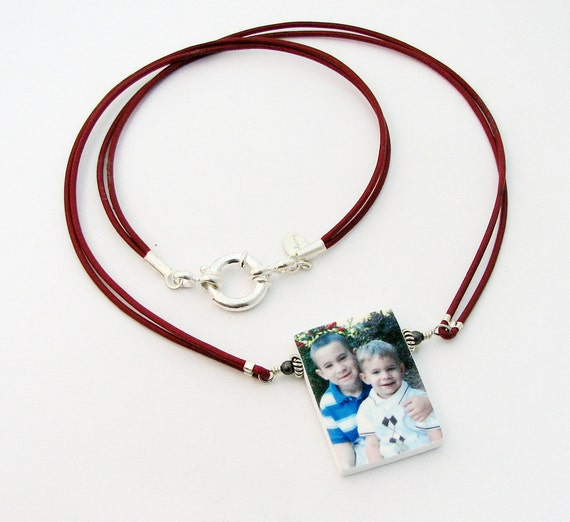 Leather Necklace With Photo Pendant - P1N
