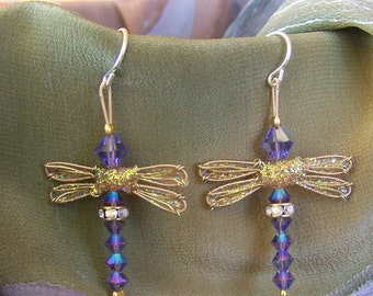Dragonfly Earrings - Birthstones & 28 More Swarovski Colors