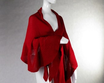 Red Wrap Woolen Shawl Women's Merino Scarf Chale Mother's Day Xmas Birthday gift for her laine vierge
