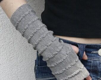 Arm Warmers Mitaines Gray Grey Pure Merino Mittens Fingerless Gloves