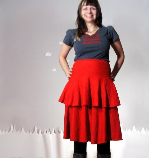 Cascading vintage layers sweater skirt in red medium LOVE FOR LAYERS