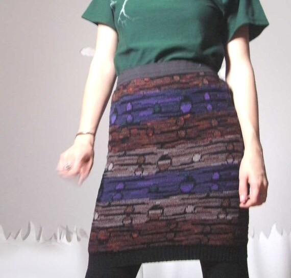 Spring Fling Sale! Sweater skirt fitted eco friendly with abstract jewel tone print small COSBY SKIRT