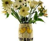 Personalized Wedding Flower Vase - All You Need Is LOVE - Custom HandMade TO ORDER Love Birds Decorative Table Vase - Bride Groom Names Date