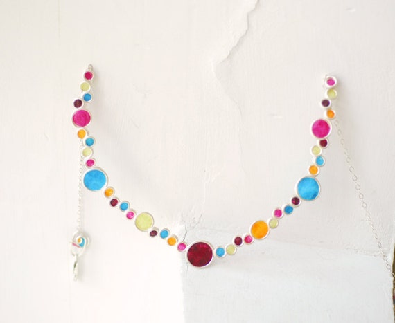 Statement Sterling Silver Colorful Jewel Tone Bubble Necklace, 1st Anniversary Gift Paper Jewelry Unique Unusual Gift for Wife Minimalist