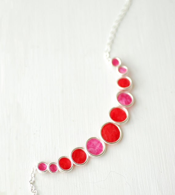 Red Necklace, Rose Pink Pendant, Handmade Paper Jewelry