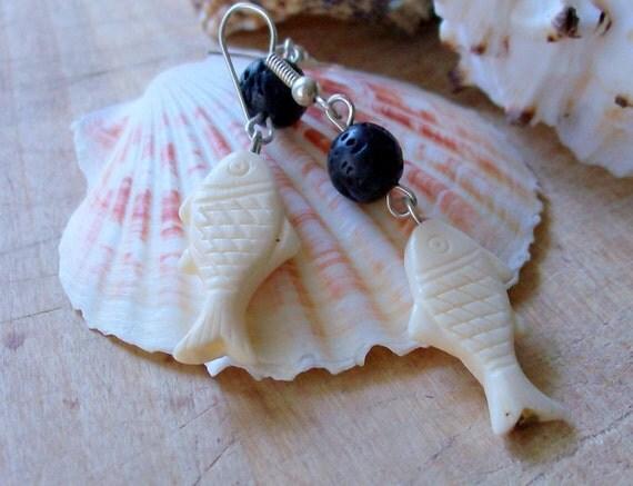 Bone & Lava Silver Earrings - Beach Jewelry - Fish - stoneandbone - Rustic