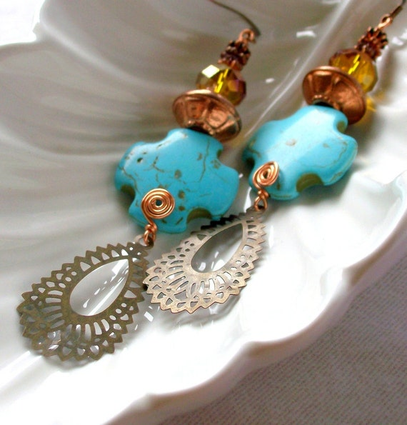 Blue Turquoise, Brass & Copper Earrings - South Western - Native American - Long - stoneandbone - Folk -Rustic