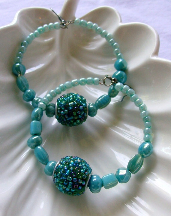 Teal Beaded Hoop Earrings - Bohemian Jewelry - Glass - stoneandbone