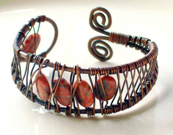 Rustic Red Jasper Copper Cuff Bracelet - Bohemian - Wire Wrapped - stoneandbone - Autumn
