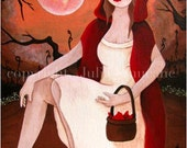 Fantasy Art - Red Riding Hood - Fairy Tale Print - Enchanted Forest with Full Moon