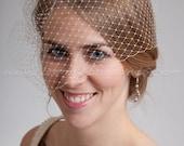 Bridal Birdcage Veil, Wedding Veil, Full Side Blusher, White, Diamond White, Ivory or Black