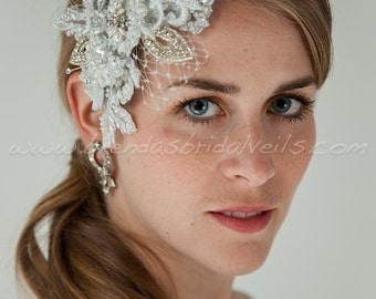 Stunning Lace Birdcage Fascinator with Swarovski Rhinestones, Pearls and Netting Accents, Bridal Hair Peice, Wedding Hair Clip - Electra