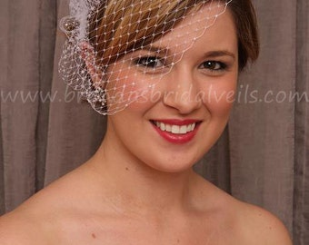 Birdcage Veil, Pearl Accent Wedge, Wedding Veil