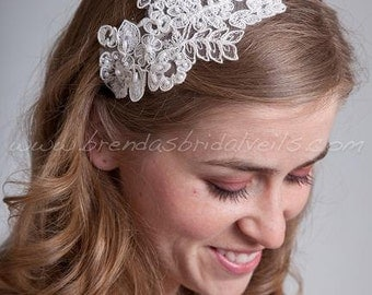Bridal Lace Headband, Wedding lace Headband - Sabrina