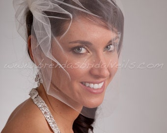 Wedding veil, Tulle Side Blusher Birdcage Veil- White, White Sparkle, Diamond White, Ivory, Ivory Sparkle, Champagne, Black, More Colors