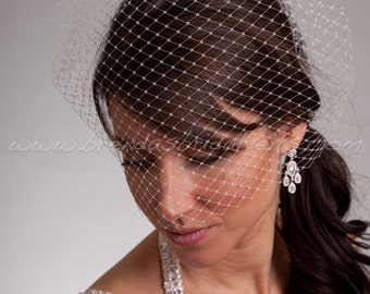 "Blusher Birdcage Veil 13"" Unfinished Edge, Wedding Veil, Bridal Veil  - White, Diamond White, Ivory, Black"