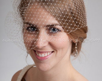 Bridal Birdcage Veil, Wedding Veil, Full Side Blusher, White, Diamond White, Ivory or Black