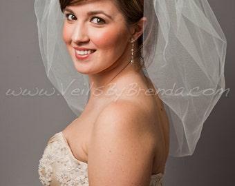 "Wedding Veil, Bubble Bridal Veil 25"" Layer - White, Diamond White, Ivory, Champagne, Black, More Colors, Matte, Sparkle"