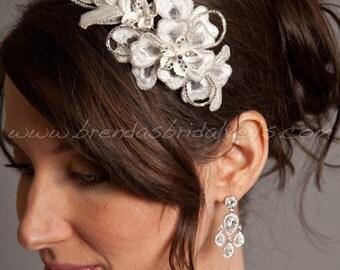 Wedding Headband, Lace Comb, Porcelain Flowers, Rhinestones, Bridal Headpiece - Odessa