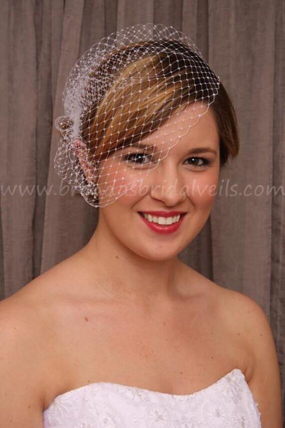 Birdcage Veil, Pearl Accent Wedge, Wedding Veil