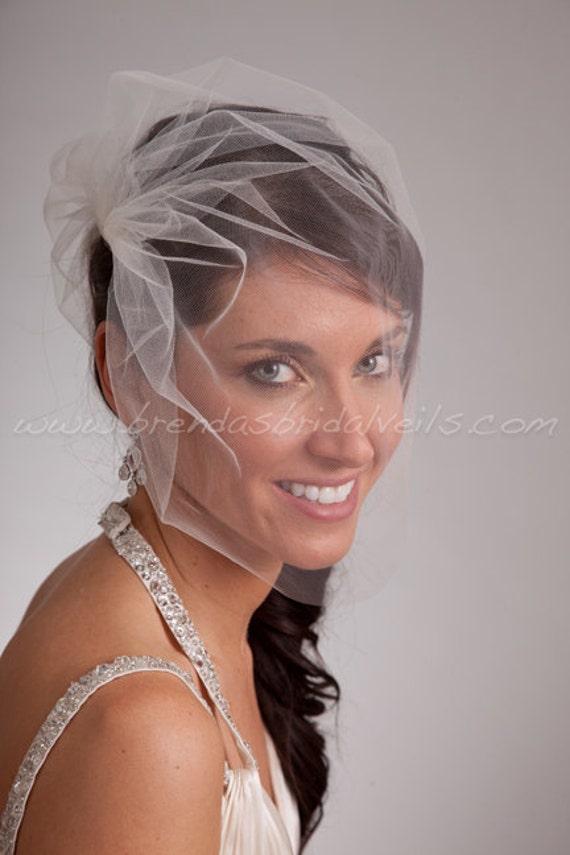 Tulle Side Blusher Birdcage Veil- White, White Sparkle, Diamond White, Ivory, Ivory Sparkle, Champagne, Black, More Colors