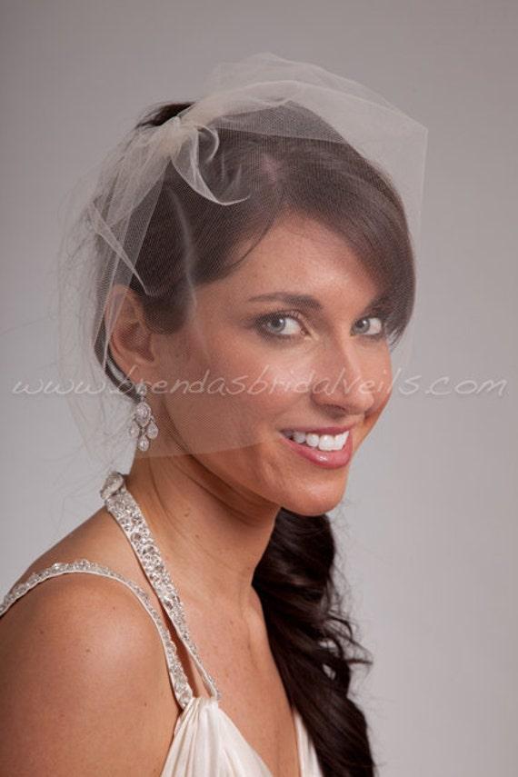 "Tulle Birdcage Veil, 11"" Tulle Blusher, Bridal Veil, Wedding Veil"