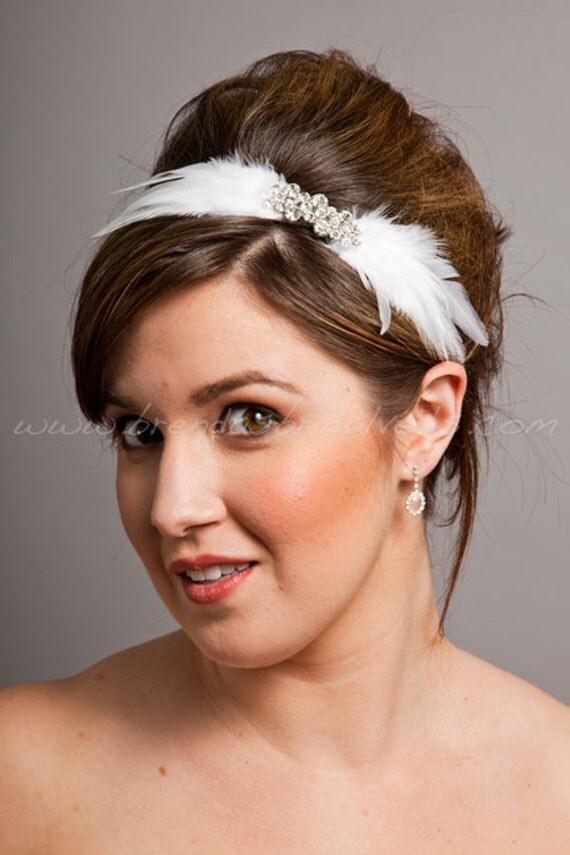 Bridal Feather Headband, Swarovski Rhinestone Embellishment, Wedding Headband, White, Light Ivory - Lucinda