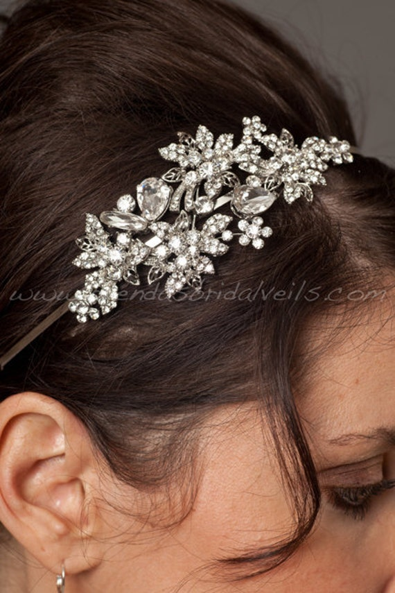 Rhinestone Bridal Headband, Wedding Headband - Candice