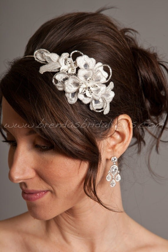flower headbands for weddings wedding headband lace comb porcelain flowers rhinestones 4196