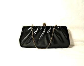 Vintage Clutch,  Black Clutch Handbag Vinyl Purse 1930s