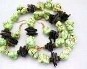 Lime Green Magnesite Necklace with Brown Chips