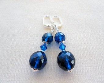 Blue Earrings Capri Blue Sparkle Swarovski Crystals