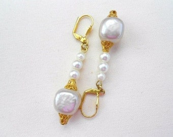 Pink Mother of Pearl Cubes Earrings