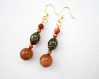 Brown Copper Goldstone Earrings Shimmering Green Copper