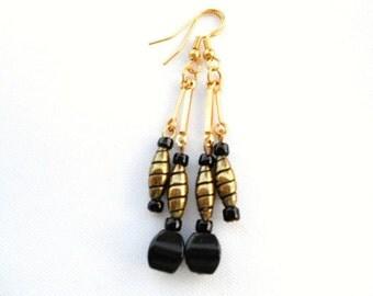 Black Obsidian Cube Earrings Antiqued Double Dangles