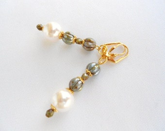 White Pearl Earrings Antique Green Melon Beads on Gold