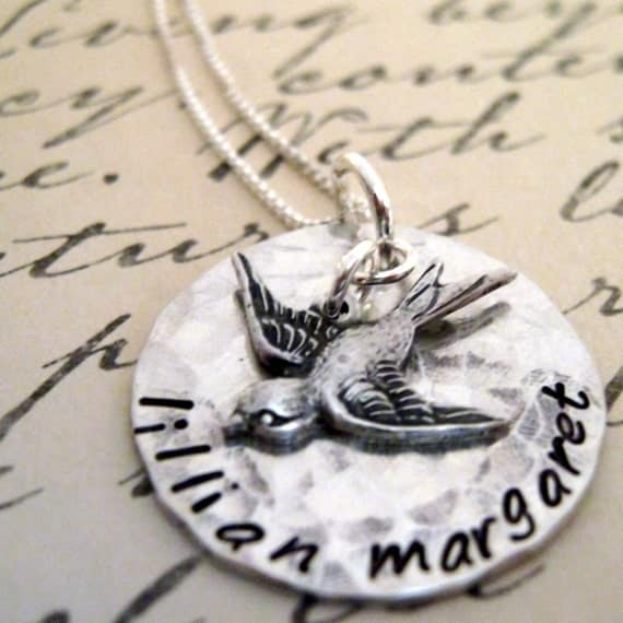 My Baby Birds - hand stamped mothers necklace with bird charm - Mommy Necklace - Personalized Necklace
