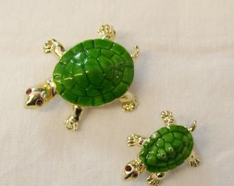 Vintage turtle enamel scatter pins with rhinestone eyes.
