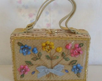 Vintage wicker sea shell purse or handbag with seashell flowers behind clear vinyl