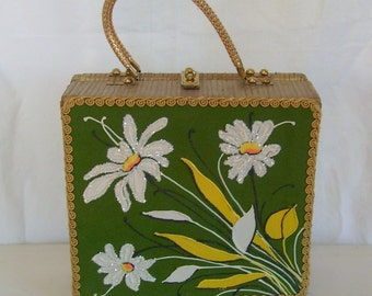 Vintage Midas of Miami wicker daisy purse or handbag green yellow white and gold