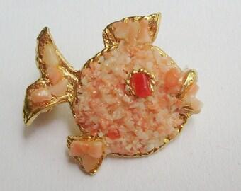 Vintage fish pin fish brooch crushed coral brooch crush coral pin encrusted brooch gold encrusted pin